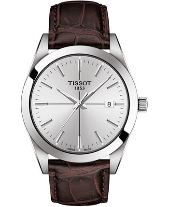Мужские швейцарские часы с коричневым кожаным ремешком Gentleman 40 мм Tissot