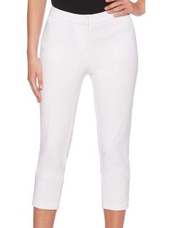 Однотонные легкие брюки-капри из атласного твила с пышными формами Rafaella