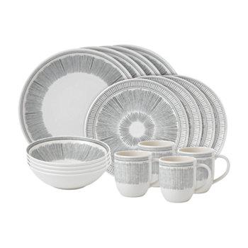 Созданный Royal Doulton Набор посуды Charcoal Grey Lines из 16 предметов ED Ellen DeGeneres