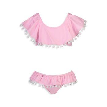 Маленькая девочка & amp; Двухкомпонентный купальный костюм с помпонами для девочек Flamingo Social Snapper Rock
