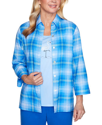 Женская рубашка Missy Laguna Beach Plaid Two For One Alfred Dunner