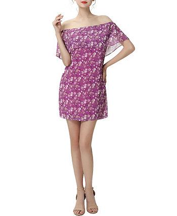 Женское шифоновое платье с открытыми плечами и цветочным принтом Nixie Kimi + kai