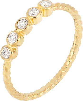 Ободок из 18-каратного желтого золота с бриллиантами - твист-кольцо - 0,05 карата Bony Levy