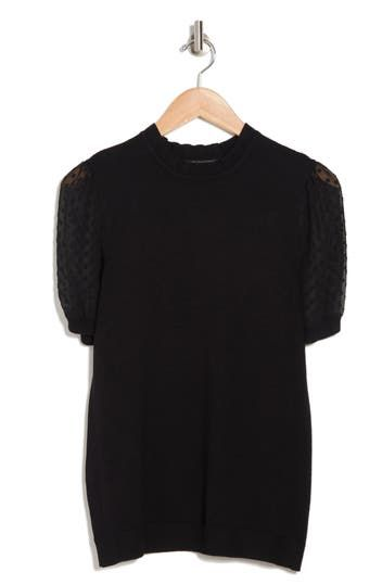 Short Puff Sleeve Sweater Top Adrianna Papell
