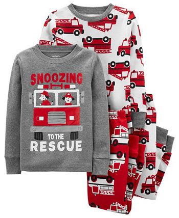 Toddler Boys Firetruck Snug Fit Cotton Pajamas 4-Piece Set Carter's