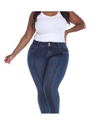 Супер эластичная джинсовая ткань большого размера с леопардовым принтом White Mark