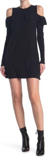 Ribbed Knit Cold Shoulder Dress Angie
