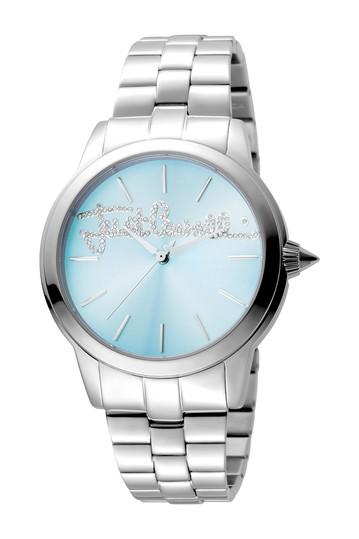 Женские часы с браслетом из мохера и кристаллами с логотипом, 36 мм Just Cavalli