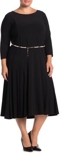 Платье с рукавами 3/4 и жемчужной талией Nina Leonard