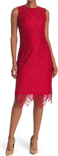Scallop Hem Lace Dress Sharagano