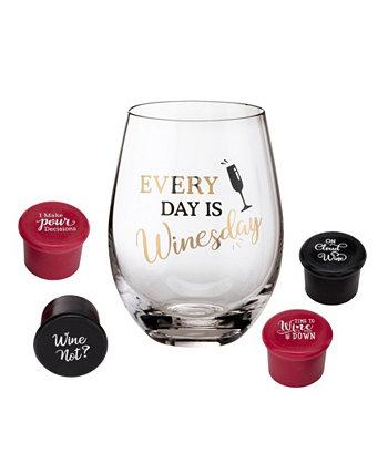 Wine Lover Wine Glass с надписью Winesday Saying и 4 пробками для бутылок вина Lillian Rose