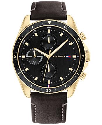 Мужские часы с хронографом с черным кожаным ремешком, 44 мм Tommy Hilfiger