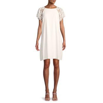 Beaded-Sleeve Crepe Dress Aidan Mattox