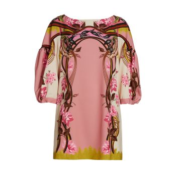 Мини-платье с объемными рукавами и принтом Alberta Ferretti