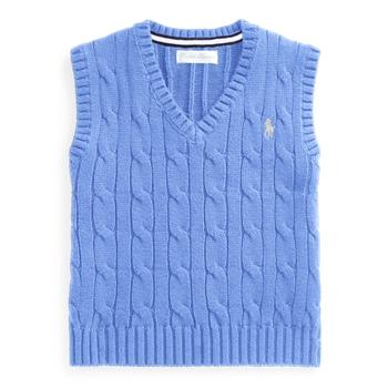 Жилет из хлопкового свитера с косой вязкой Ralph Lauren