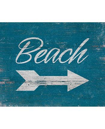 """Винтажный пляжный знак 20 """"X 24"""" Картина на холсте Creative Gallery"""