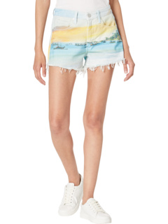 Photo Print Denim Shorts in Lost in Paradise Blank NYC