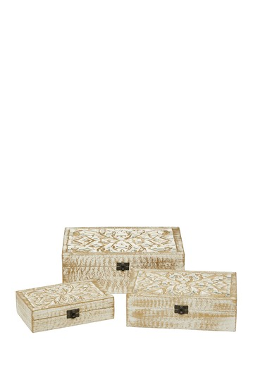 Natural Rectangular Distressed White Wooden Filigree Decorative Box - Set of 3 Willow Row