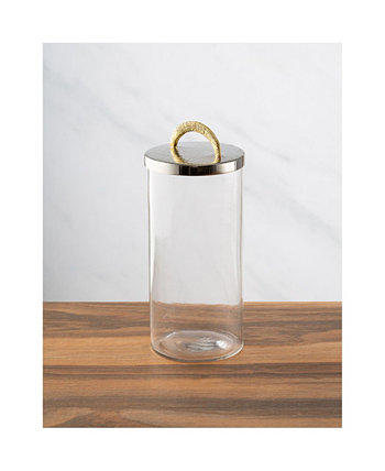 Medium Glass Canister with Stainless Steel Lid and Handle Classic Touch
