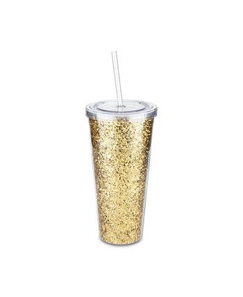 Glam двухстенный стакан с блестками Blush