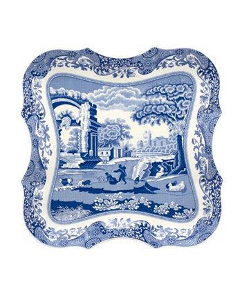 Голубой итальянский большой поднос с девонией Spode