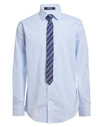 Рубашка и галстук Big Boys Stretch Shadow Grid, комплект из 2 предметов Tommy Hilfiger