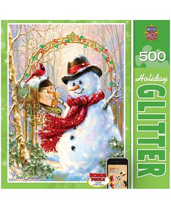 Праздничная головоломка с блестками - Письма к морозу - 500 штук MasterPieces Puzzle Company