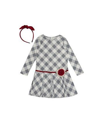 Платье в клетку Little Girls Buffalo с повязкой на голову Rare Editions