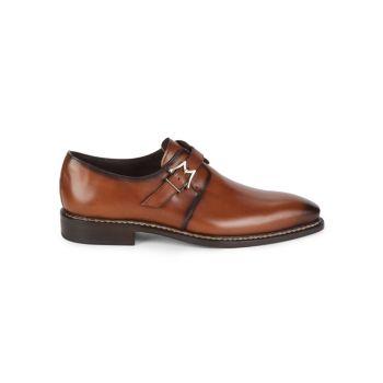 Paden Monk-Strap Leather Shoes Mezlan