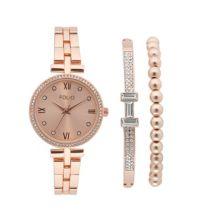 Женские часы и браслет Folio в цвете розового золота, набор из 3 предметов Folio