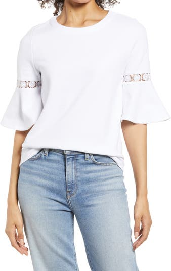 Lace Accent Bell Sleeve Cotton Blend Knit Top Everleigh