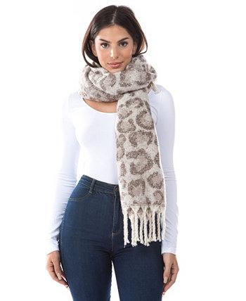Женский шарф с леопардовым принтом и бахромой Marcus Adler