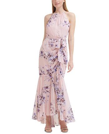 Floral-Print Mermaid Gown Eliza J
