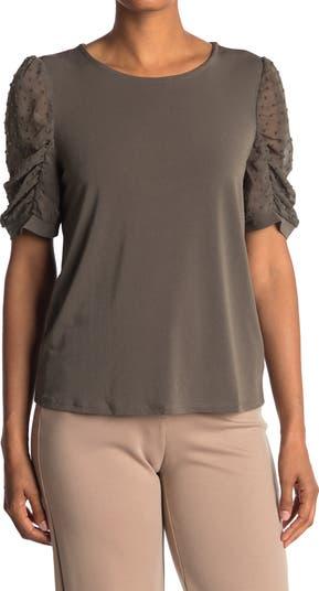 Рубашка из пухового крепа с короткими застежками и мохом Adrianna Papell