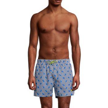Полоса пальмовой рыбы & amp; Плавательные шорты с принтом листьев BOSS Hugo Boss