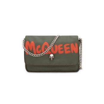 Маленькая сумка с изображением черепа и граффити Alexander McQueen