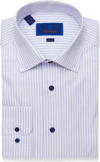 Классическая рубашка с отделкой в геометрическую полоску David Donahue