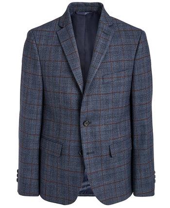 Спортивное пальто Big Boys Classic-Fit из эластичного темно-синего / винного пледа Ralph Lauren