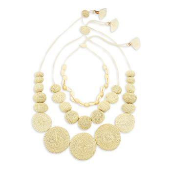 La Amazonas 3-х частей тканые Iraca Palm & amp; Комплект ожерелья из морских ракушек DANNIJO