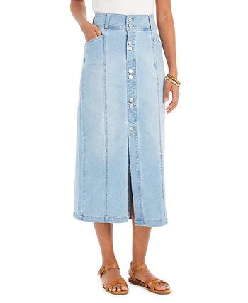 Миниатюрная джинсовая юбка A-Line, созданная для Macy's Style & Co