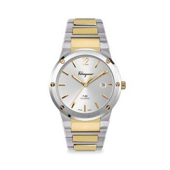 F-80 Classic из нержавеющей стали & amp; Часы-браслет с покрытием из желтого золота Salvatore Ferragamo