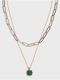 Ожерелье с кулоном из малахита Banana Republic