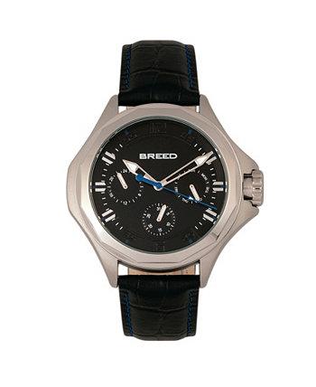 Часы из натуральной кожи Quartz Tempe Black And Silver 43 мм Breed