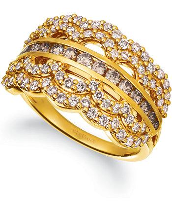 Кольцо из 14-каратного золота с шоколадным бриллиантом (3/8 карата) и телесным бриллиантом (5/8 карат) Le Vian