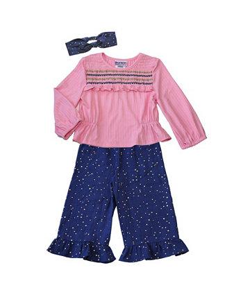 Топ со сборками в рубчик для маленьких девочек и повязка на голову из марлевых брюк в горошек, комплект из 3 предметов Blueberi Boulevard
