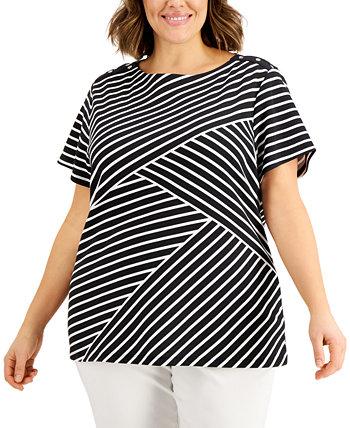 Асимметричный полосатый топ большого размера, созданный для Macy's Karen Scott