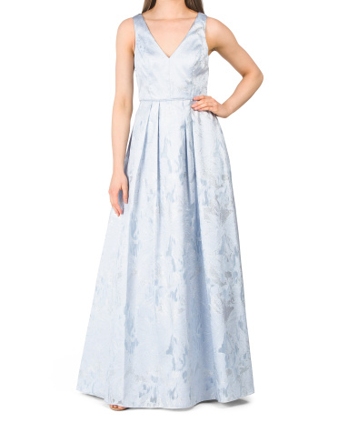Sleeveless A-line V-neck Jacquard Dress Aidan Mattox