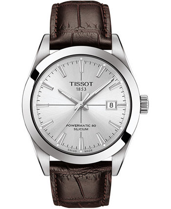 Мужские швейцарские автоматические часы Powermatic 80 с силиконовым коричневым кожаным ремешком 40мм Tissot