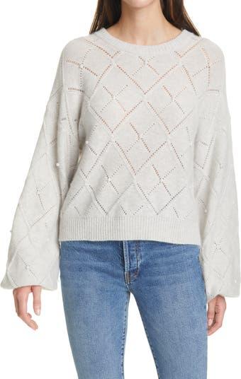 Кашемировый свитер Pointelle с объемными рукавами Autumn Cashmere