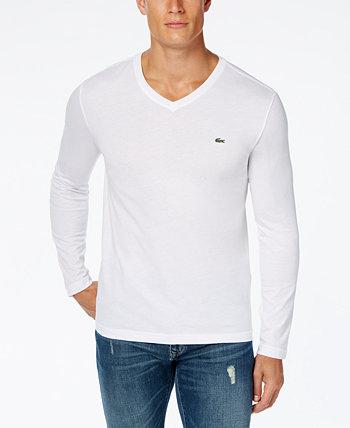 Мужская футболка из джерси с V-образным вырезом и длинным рукавом Lacoste